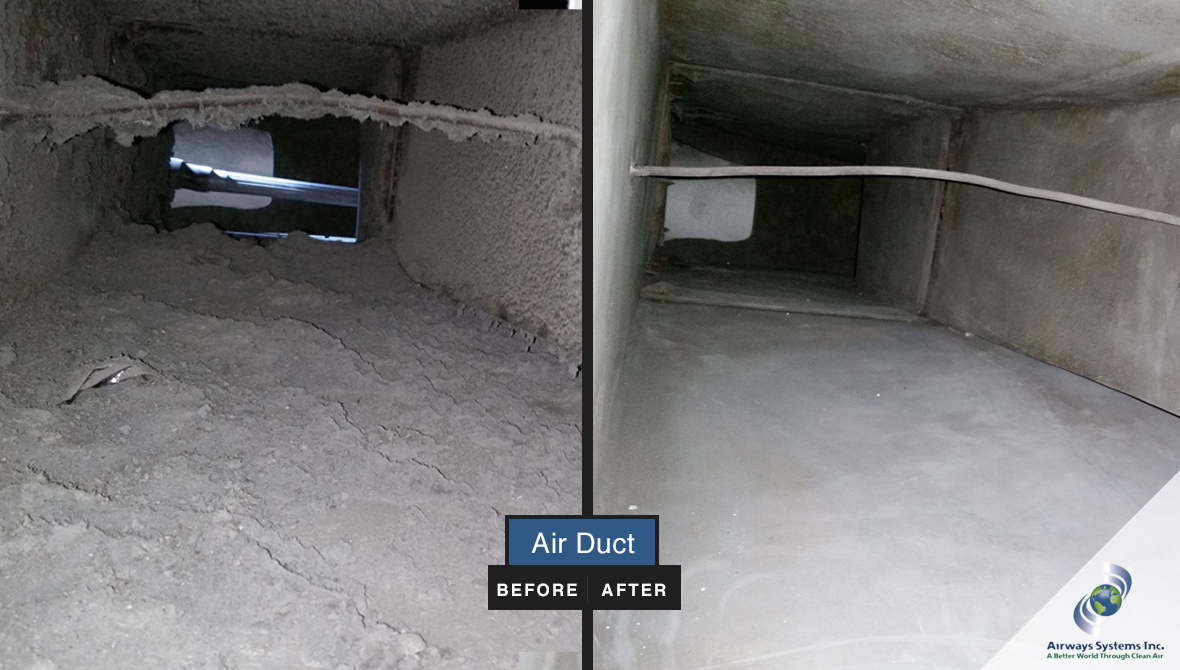 Air duct before and after cleaning by Airways Systems