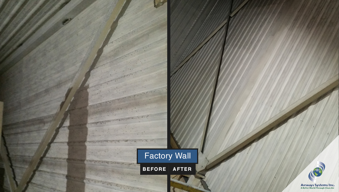 Factory wall before and after cleaning by Airways Systems