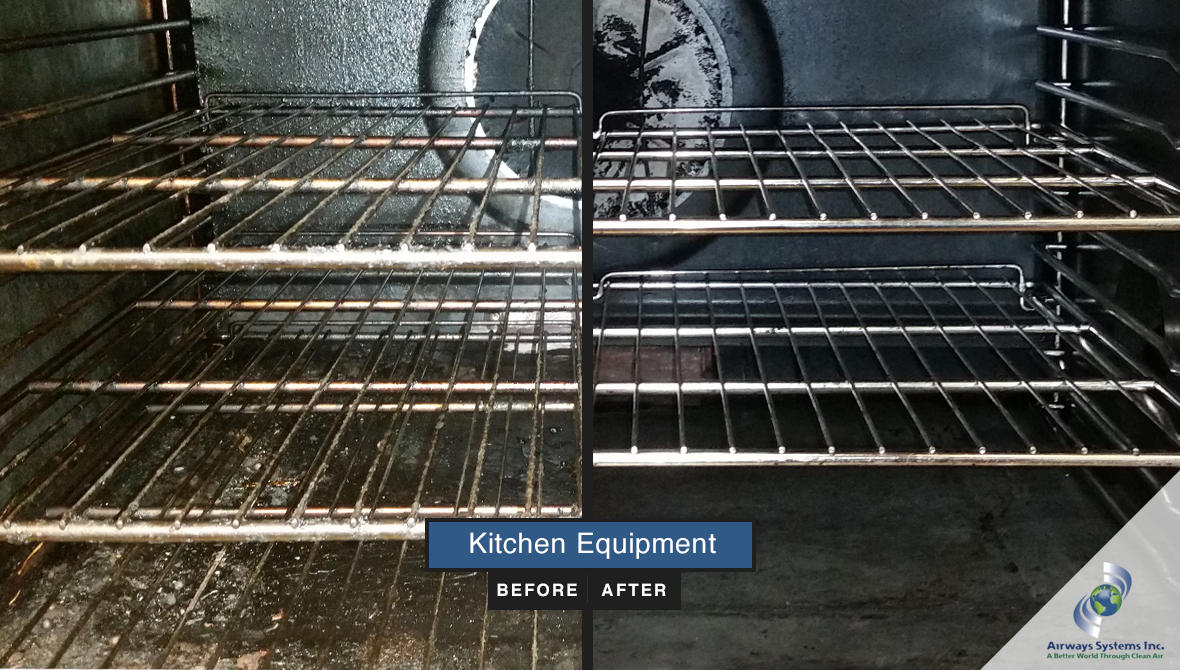 Kitchen equipment before and after cleaning by Airways Systems