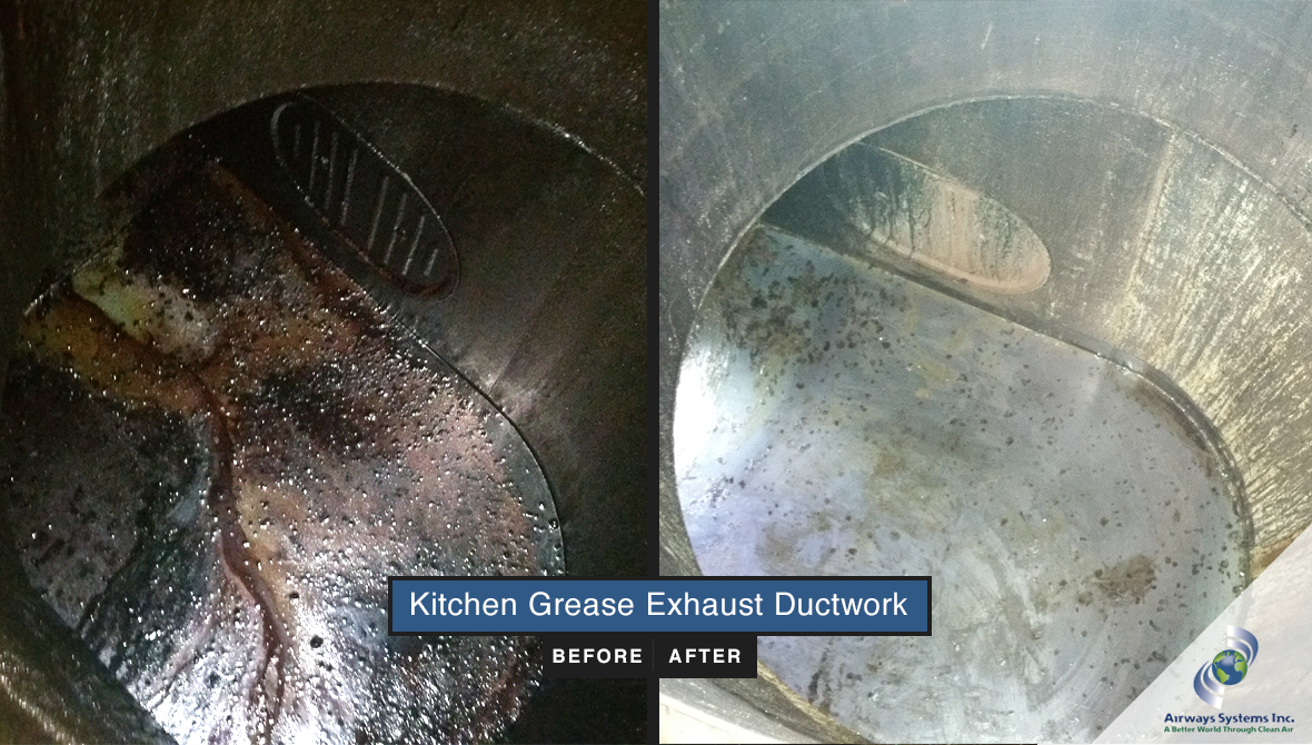 Kitchen exhaust ductwork before and after cleaning by Airways Systems