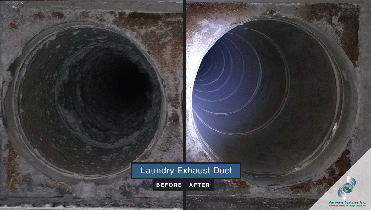 Laundry exhaust before and after cleaning by Airways Systems