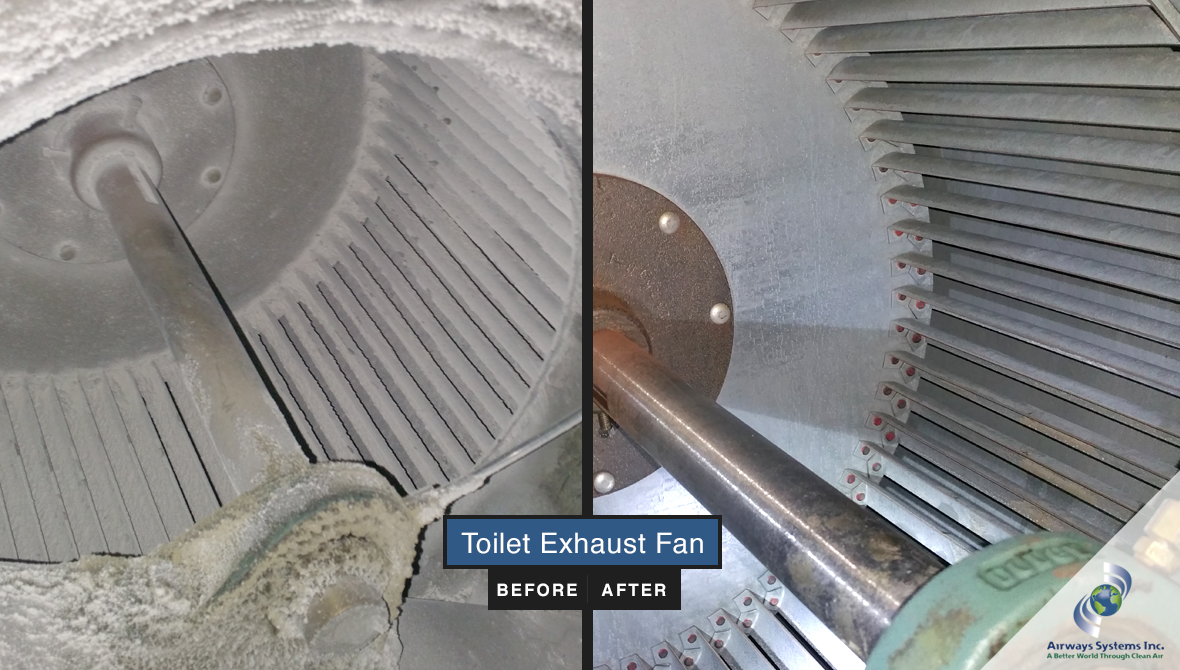 Toilet exhaust before and after cleaning by Airways Systems