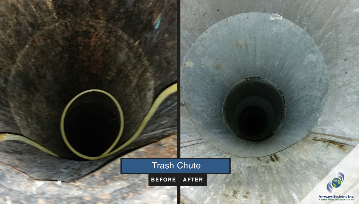 Trash chute before and after cleaning by Airways Systems