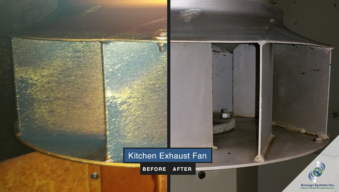 Kitchen exhaust fan before and after cleaning by Airways Systems